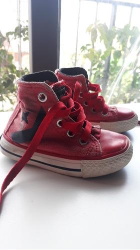 zapatillas de lona nene nena unisex rojas talle 21