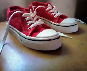 Zapatillas De Lona Rojas Marca Tex (carrefour) Talle 30