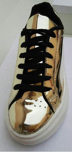 zapatillas de mujer colores. plata espejado,negro charol,oro