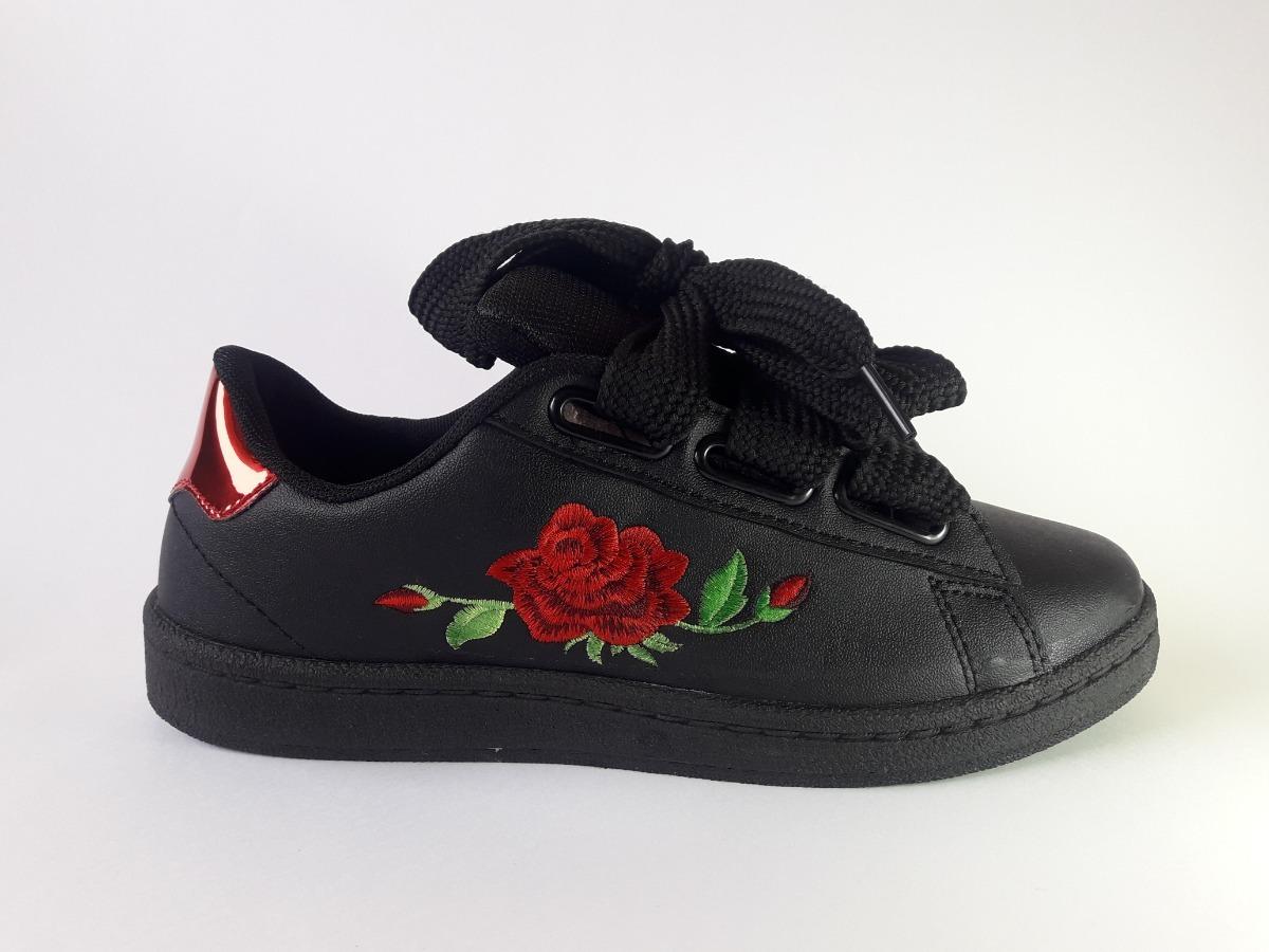 30c49c73d9113 Zapatillas De Mujer Con Flores Y Cordones Anchos -   679