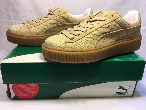zapatillas de mujer puma platform natural gold