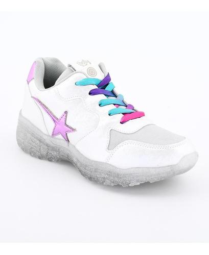 zapatillas de niñas con luces footy crystal glitter fx389