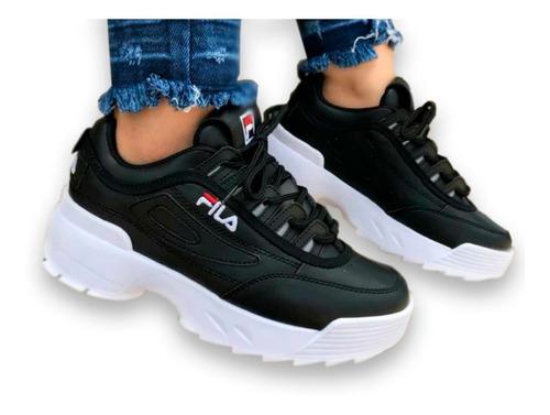 Zapatillas Fila Negras Tenis para Hombre Blanco en Mercado