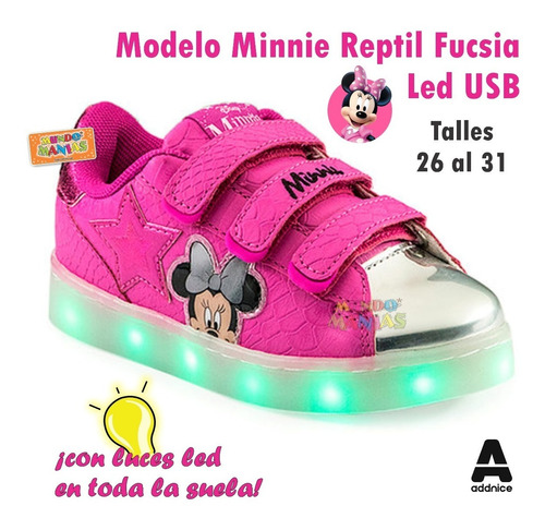 zapatillas disney minnie usb luces led addnice mundo manias