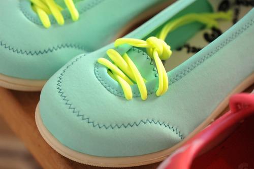 zapatillas elastizadas doblele minivondel niñas verde agua