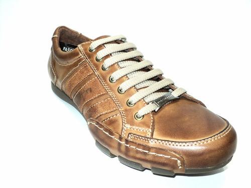 zapatillas en cuero marrón suela franco pasotti