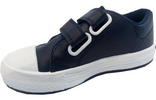 zapatillas escolares cuero con abrojo marca small mod match