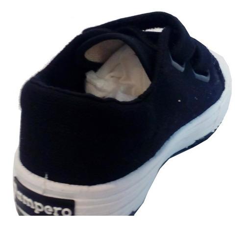 zapatillas escolares lona negro abrojo marca pampero  agus