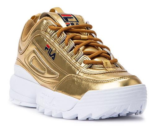 zapatillas fila disruptor ii metallic mujer
