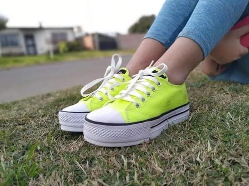 zapatillas fluor lona colores base alta con banda env gratis