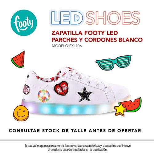 zapatillas footy  fxl106 luz led  usb con patchs pc
