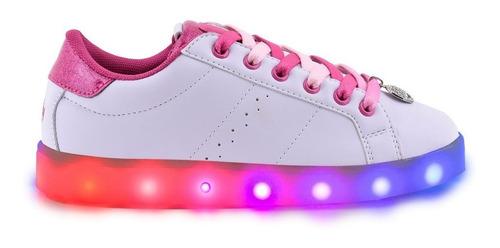 zapatillas footy fxl89 duo pink cordones bicolores y led  pc
