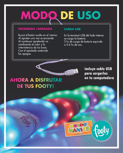zapatillas footy luces led carga usb brillos nena fxl61 62