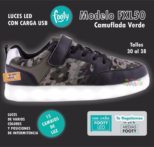 zapatillas footy luces led carga usb camufladas varon 50/51