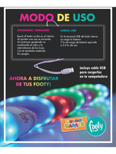 zapatillas footy luces led carga usb fxl102 mundo manias