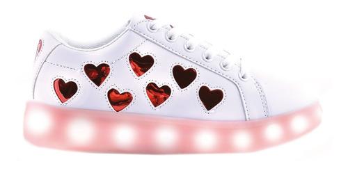 zapatillas footy luces led carga usb fxl124/125 corazones
