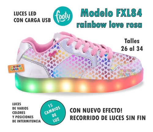 zapatillas footy luces led carga usb fxl85 mundo manias