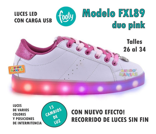 zapatillas footy luces led carga usb fxl88/89 mundo manias