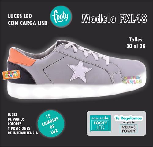 zapatillas footy luces led carga usb varon 48/49 mundomania