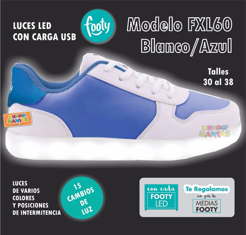 zapatillas footy luces led sol carga usb fxl57 60 mundomania