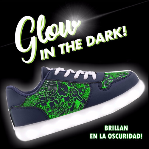 zapatillas footy luces led usb brillan en la oscuridad 53/54