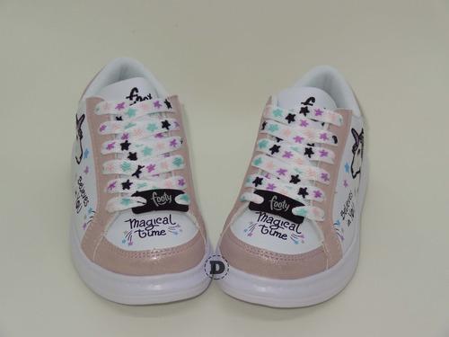 zapatillas footy unicornio livianas dreams calzado caballito
