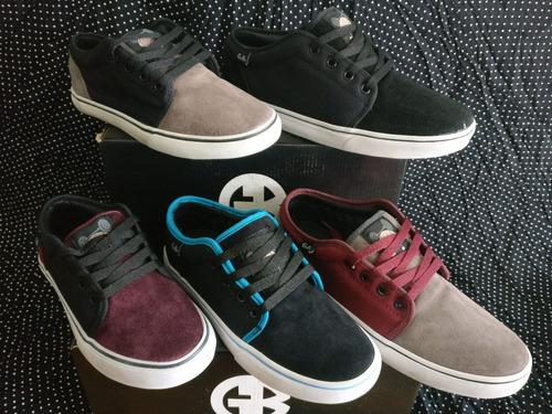 zapatillas gebe tango negro-cian - skate tipo vans