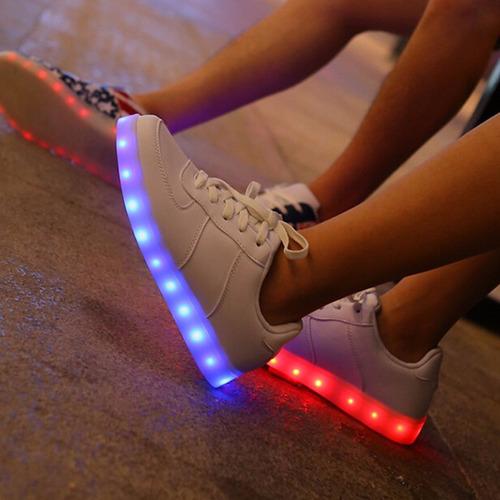 zapatillas hombre luces led 7 colores mujer recargable niños