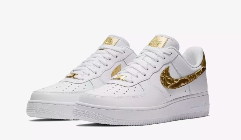 half off 6868f 43ab2 zapatillas hombre nike air force 1 cr7 blanca dorado