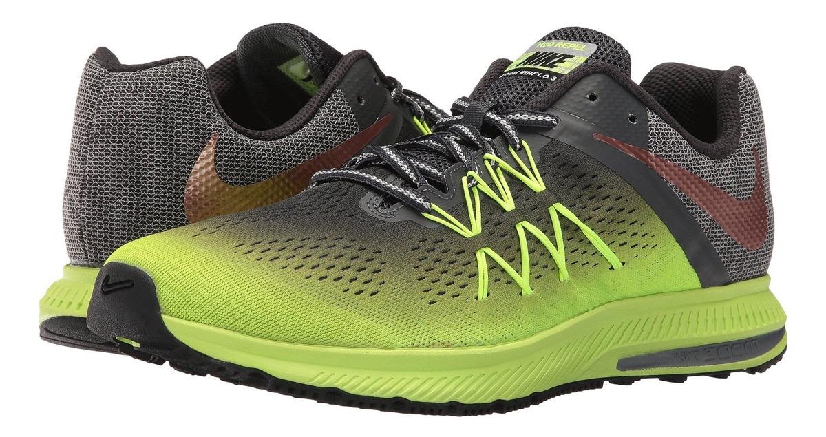 Detalles de Nike Zoom Winflo 3 Shield Hombre Zapatillas Zapatos 852441 700 NegroGrisVoltios ver título original
