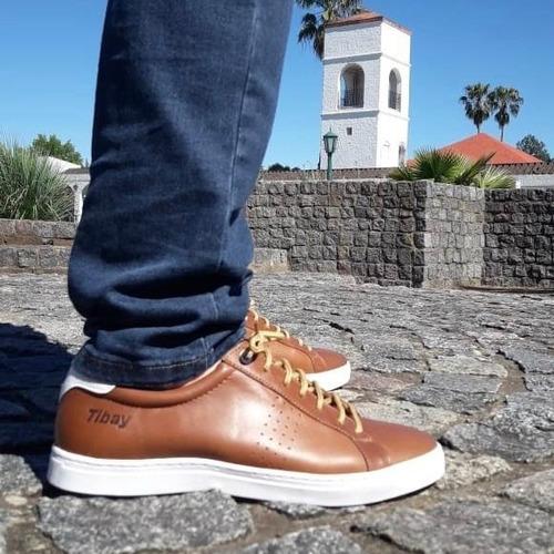 zapatillas hombre urbanas cuero 100% cosidas nauticas tibay