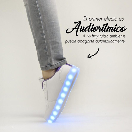 zapatillas led footy plateada carg usb fxl33 mundo moda kids