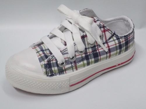 zapatillas lona bajas unisex cuadros cordones rigazio