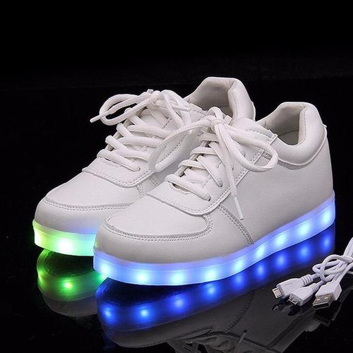 zapatillas luces led 7 colores usb recargable hombre mujer