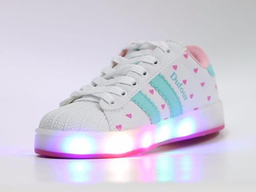 zapatillas luces led blancas rosas turques para niñas dufour