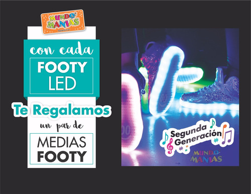 zapatillas luces led carga usb footy #17 18 20 mundo manias