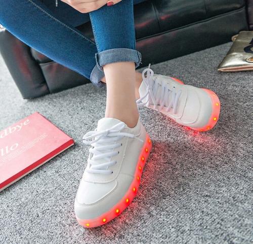 zapatillas luz led blancas luces 7 colores unisex carga usb