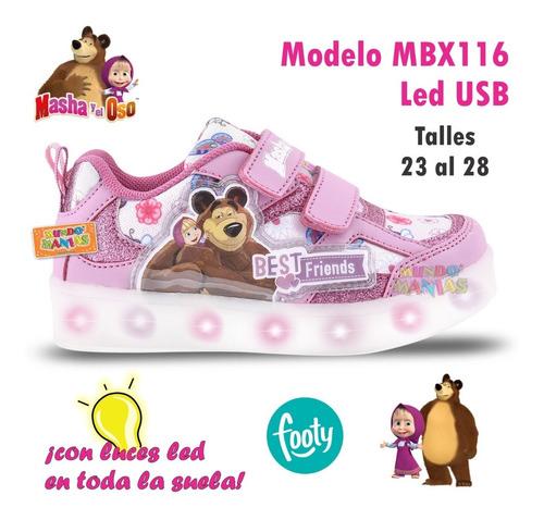 zapatillas masha y el oso luces led usb footy 115 116 manias