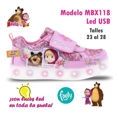 zapatillas masha y el oso luces led usb footy 117 118 manias