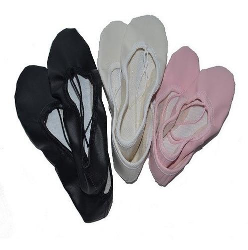 zapatillas media punta badanas cuerina rosa blanco negra