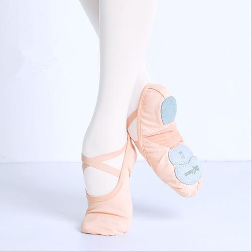 zapatillas media punta lona y gamuza ballet marron 2pzs