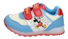 Zapatillas Mickey Mouse Niños Celeste Velcro Luces 1884