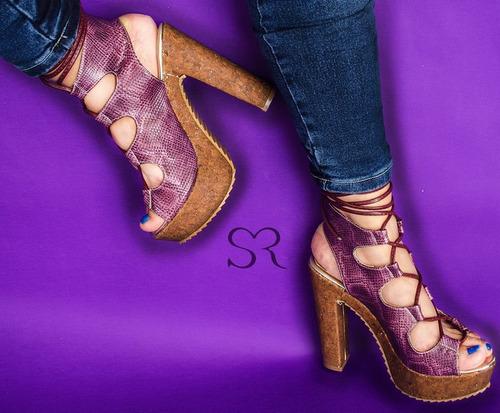 zapatillas morado sexys altas moda animal print serpiente