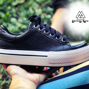 Puntera Sneakers C Mujer Charol Urbanas De Zapatillas Negra 5cLA34Rjq