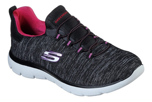 zapatillas mujer skechers summits quick get away black pink