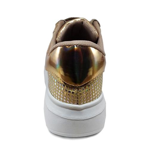 zapatillas mujer urbanas acharoladas doradas compra-express