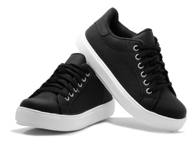 mejor selección 39196 d263f Zapatillas Negra Blanca Mujer Sneaker Urbana Plataforma Moda
