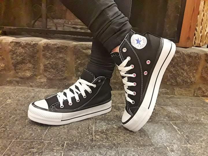 56b420c96 Zapatillas Negras Botita Lona Simil Converse Plataforma Alta ... converse  plataforma altas negras mujer