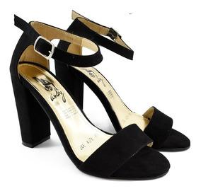 zapatos de separación 9ea3d 21cd0 Zapatillas Negras O Beige Con Tacón Cuadrado 10cm 4278-5