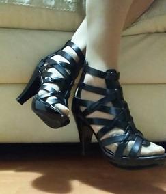 Zapatillas Tiras Gladiador Negras 23 Sandalias Charol Negro nw0Pk8O